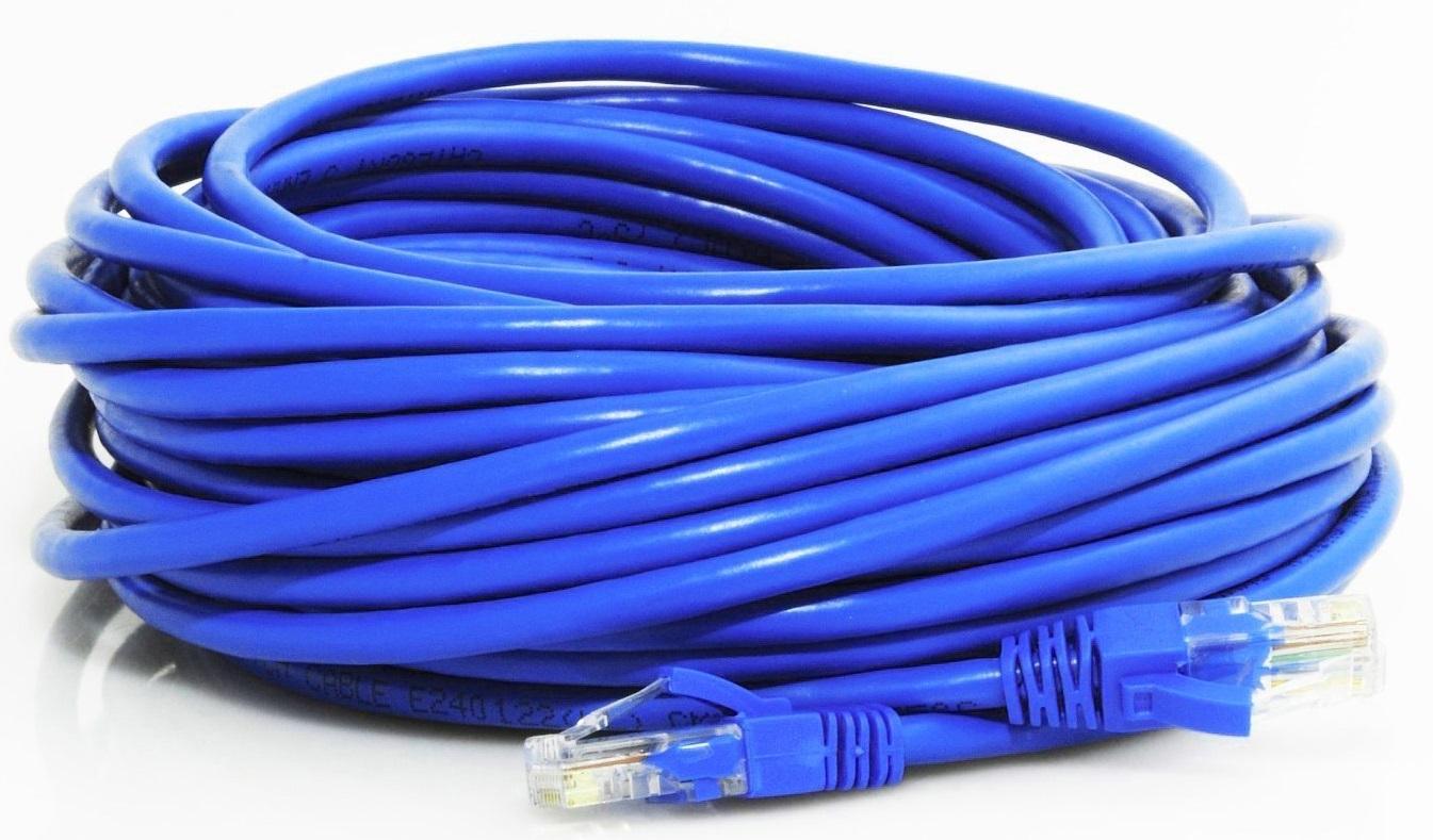 50' Cat 5e, 350MHz, with connectors, blue
